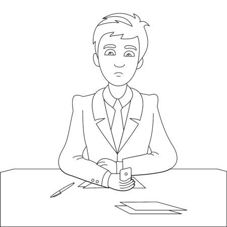 A businessman sitting behind the office desk in the office and makes a phone call to make his business successful. Vector illustration for get more profit.