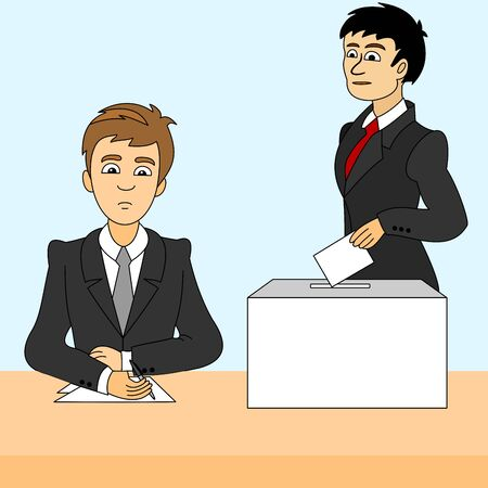A man inserts a ballot paper into the ballot box that stands on the table. Another man records the presence of voters in an election. The voter votes in the election. Election Vote concept. Vector. 向量圖像