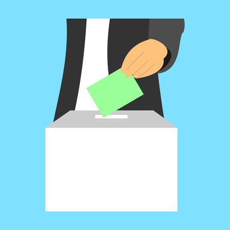 A man inserts a ballot paper into the ballot box that stands on the table. The voter votes in the election. Election Vote concept. Vector.