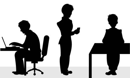 Two businessman sitting on chair for the office desk and the third stands with smart phone in hand. Vector black and white flat illustration. Illusztráció