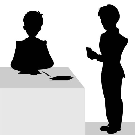 One businessman sitting on chair for the office desk and the other stands with a mobile phone in hand. Vector black and white flat illustration.
