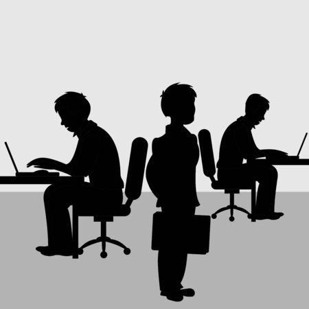Two businessman sitting on chair for the office desk and working on computer and the third stands with a business bag in his hand. Vector black and white flat illustration. Illusztráció