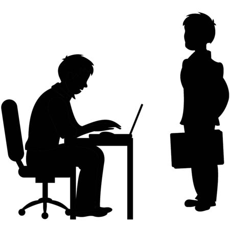 One businessman sitting on chair for the office desk and working on computer and the other stands with a business bag in his hand. Vector black and white flat illustration.