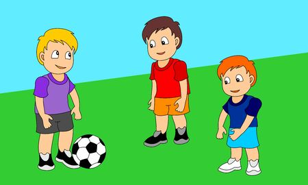 Three boys playing football. Vector illustration of a little boys playing sports.