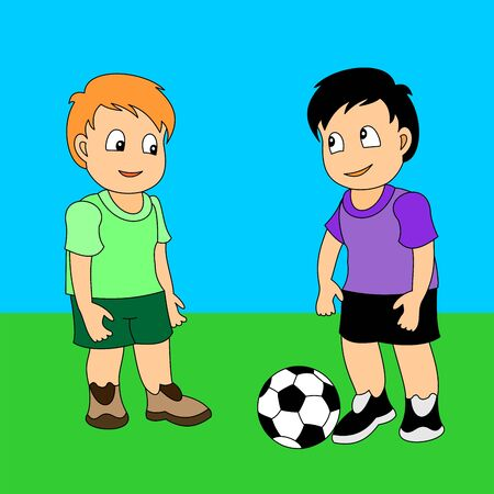 Two boys playing football. Vector illustration of a little boys playing sports. 向量圖像
