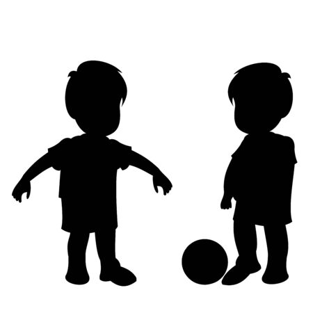 Two little boys playing football. Black vector graphic illustration  isolated on white background. 向量圖像