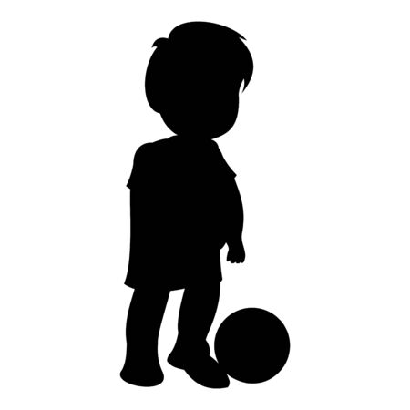 Little boy with a soccer ball. Black vector graphic illustration  isolated on white background.