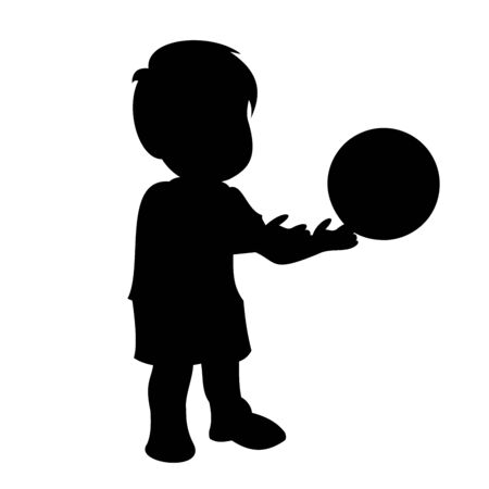 Little boy throws the ball out of his hands. Black vector graphic illustration  isolated on white background.