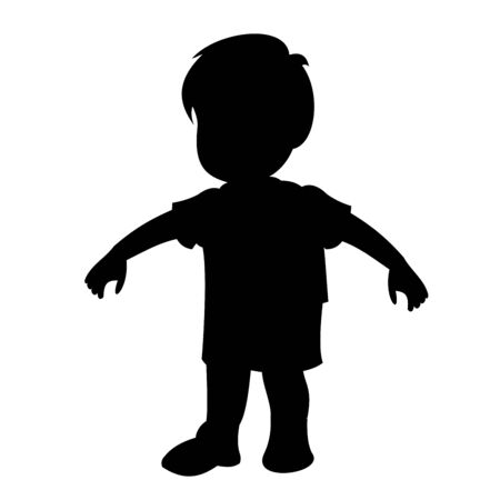 Aggressive boy who wants to fight. Black vector graphic illustration  isolated on white background. Illustration