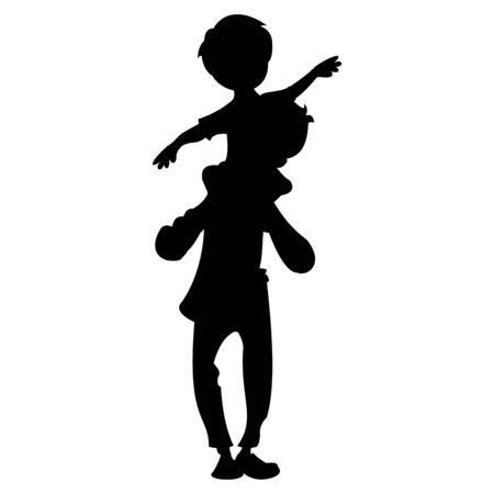 Vector illustration of a little boy sitting on his daddys shoulder. Black vector graphic illustration  isolated on white background.