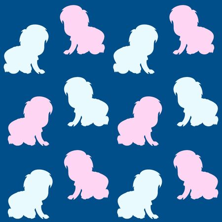 Vector seamless background with  babies crawling.
