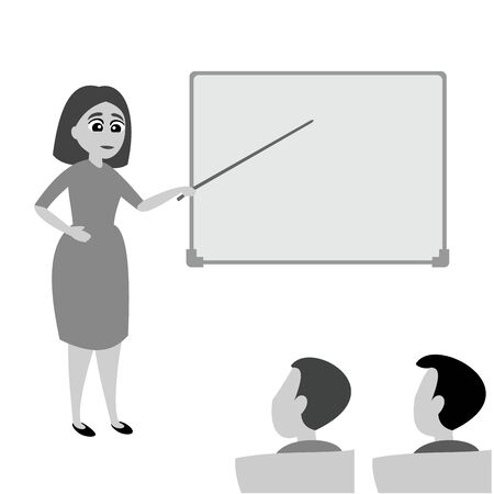 Teacher woman explains task to students. School lecture hall interior. Flat vector illustration of grayscale color.