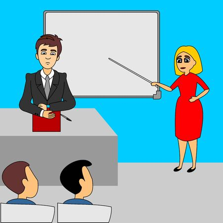 The teacher sits at his desk. Schoolgirl answers on the board. School Teacher woman explains task to students. School lecture hall interior. Flat vector illustration of grayscale color.hall interior. Flat vector illustration of full colors.