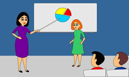 Teacher woman explains task to students. School lecture hall interior. Flat vector illustration of full colors. Ilustração