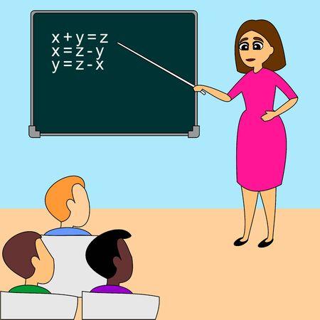 Teacher woman explains task to students. School lecture hall interior. Flat vector illustration of full colors. Illusztráció