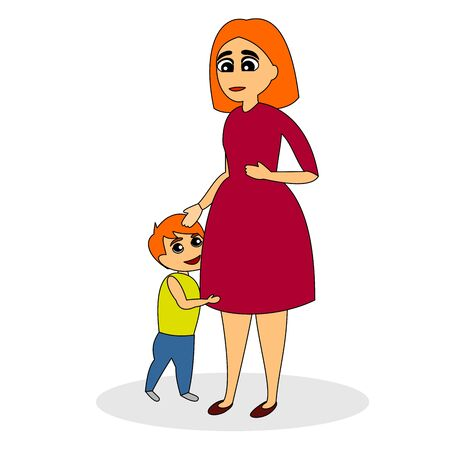 Mother with two children. She holds one in her arms and the other stands beside her. Vector color graphic illustration.