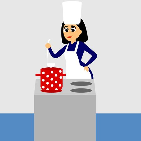 Woman standing by the stove and cooking. Vector color graphic illustration.