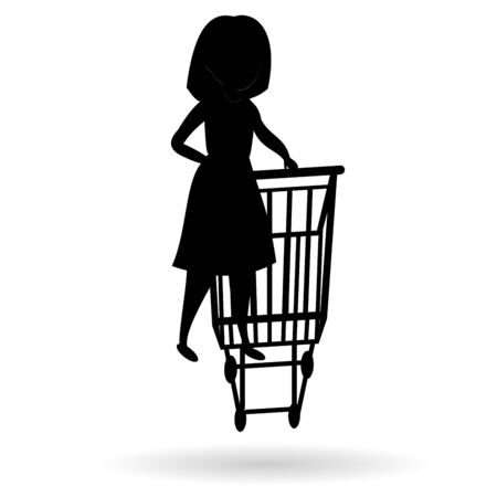 Silhouette of woman with a shopping cart. Woman shopping. Vector black Illustration on white background with shadow.