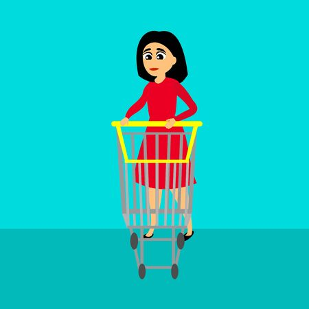 Woman with a shopping cart. Woman shopping. Vector color Illustration. Illustration