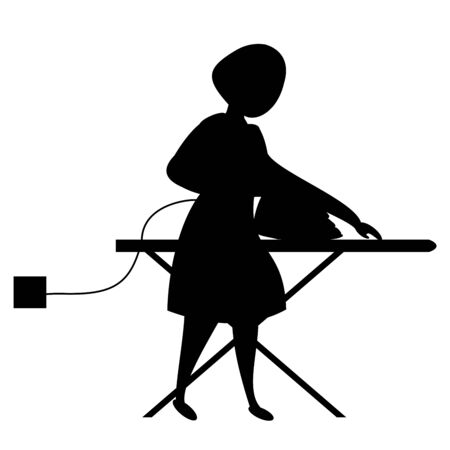 Silhouette of a woman ironing on the ironing board. Laundry service.  Vector black Illustration on white background.