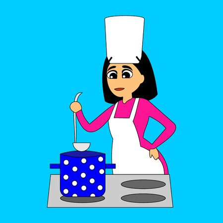 Woman cooking. Food cooking service. Vector color illustration on blue background.