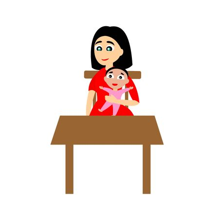 The women with the baby in her hand sits at the table. Mom with daughter. Vector color graphic illustration on white background. 일러스트