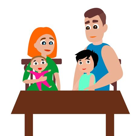 The family sits at the table. Mom, dad, girl and boy. Vector color graphic illustration on white background. Çizim