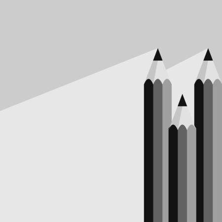 Black pencil icon in flat style with long shadow. Also suitable for background, banner or template. Vector illustration on grey background. Illustration