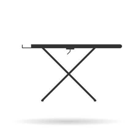 Silhouette ironing board icon with shadow. Vector black icon on white background.