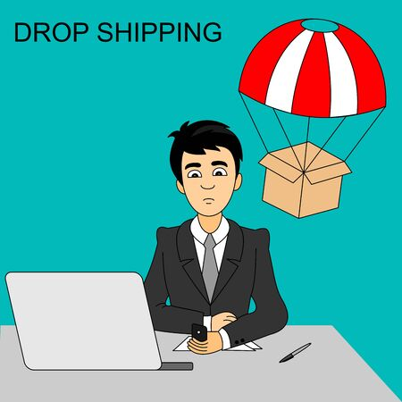 Drop shipping concept. Businessman buying product from a smartphone. Package are flying on parachute. Vector graphic illustration.