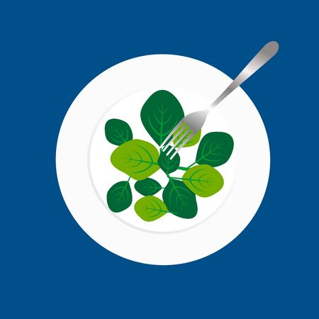 Fresh green spinach leaves on a white plate with fork. Flat top view space on blue background. Vector illustration of healthy and  delicatessen food.