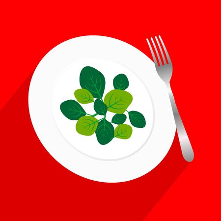 Fresh green spinach leaves on a white plate with fork. Flat top view space on red background with long shadow. Vector illustration of healthy and  delicatessen food. Ilustração