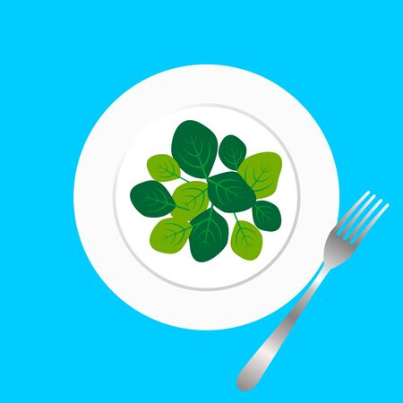 Fresh green spinach leaves on a white plate with fork. Flat top view space on light blue background. Vector illustration of healthy and  delicatessen food. Ilustração