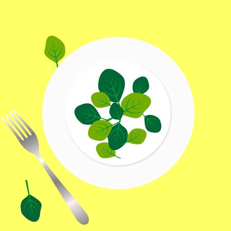 Fresh green spinach leaves on a white plate with fork. Flat top view space on yellow background. Vector illustration of healthy and  delicatessen food.