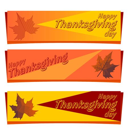 Set of three banners for Thanksgiving day composed of triangles. Vector polygonal color graphic illustration. Imagens - 133413860