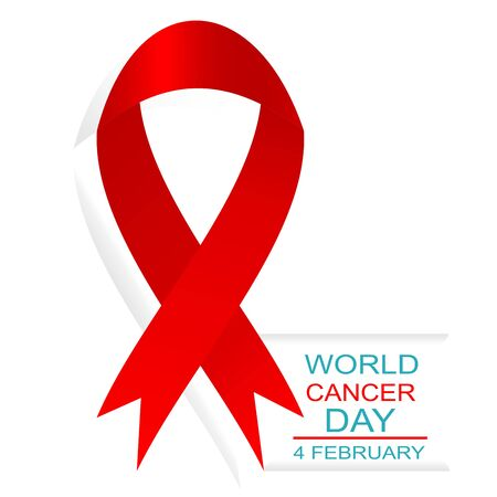 World cancer day 4 february. Vector illustration with red ribbon and text.