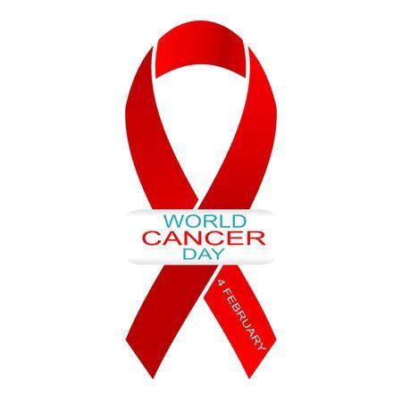 Giornata mondiale contro il cancro 4 febbraio. Illustrazione vettoriale con nastro rosso e testo. Vettoriali