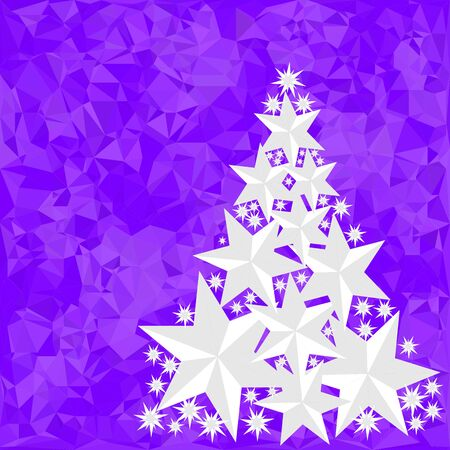 Pattern for Merry Christmas and Happy New Year made of triangles.  Purple polygon background with Christmas tree made of stars. Foto de archivo - 133414205