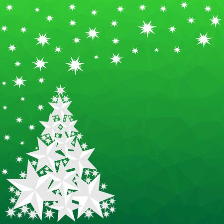 Pattern for Merry Christmas and Happy New Year made of triangles.  Green polygon background with Christmas tree made of stars. Foto de archivo - 133414206