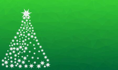 Pattern for Merry Christmas and Happy New Year made of triangles.  Green polygon background with Christmas Tree made of stars. Foto de archivo - 133414632