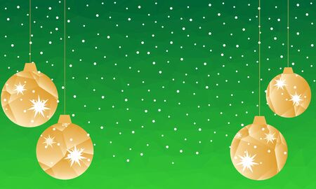 Pattern for Merry Christmas and Happy New Year made of triangles.  Green polygon background with golden balls and confetti. Foto de archivo - 133414207
