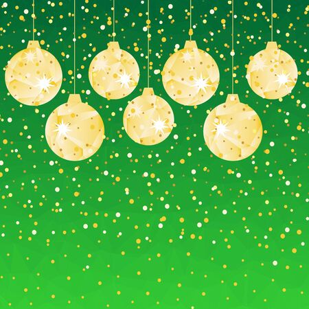 Pattern for Merry Christmas and Happy New Year made of triangles.  Green polygon background with golden balls and confetti. Foto de archivo - 133414208
