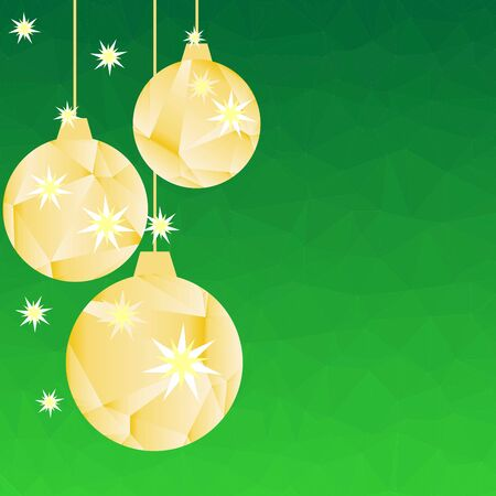 Pattern for Merry Christmas and Happy New Year made of triangles.  Green polygon background with golden balls and stars. Foto de archivo - 133414209