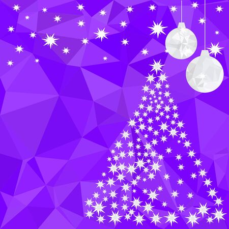 Pattern for Merry Christmas and Happy New Year made of triangles.  Purple polygon background with balls and Christmas tree made of stars. Foto de archivo - 133414211