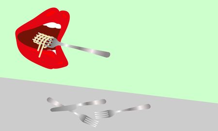 Large mouth with red lips eat а pasta. Color vector background.