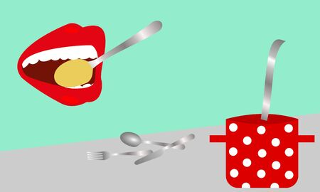 Large mouth with red lips eat a soup. Color vector background. Ilustracja