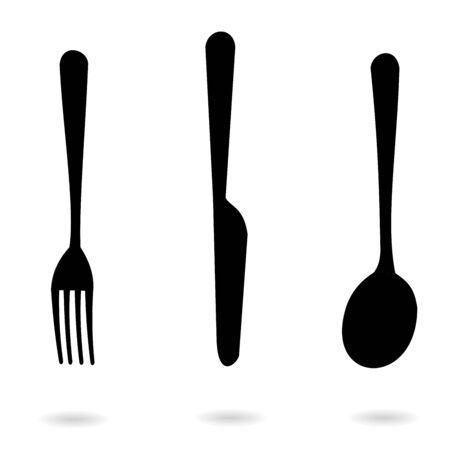 Set of icons black fork, spoon and knife icons with shadow isolated on white background. Vector Illustration for cutlery symbols.
