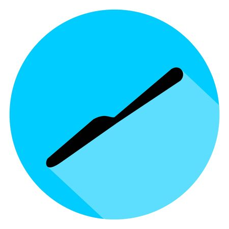 Black knife circle icon with long shadow on blue background. Vector Illustration for cutlery symbol.