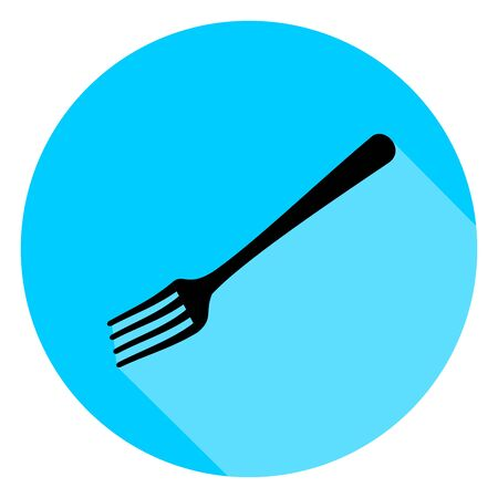 Black fork circle icon with long shadow on blue background. Vector Illustration for cutlery symbol.
