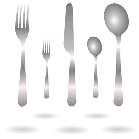 Set of realistic grey fork, spoon and knife icons with shadow isolated on white background. Vector Illustration for cutlery symbols.